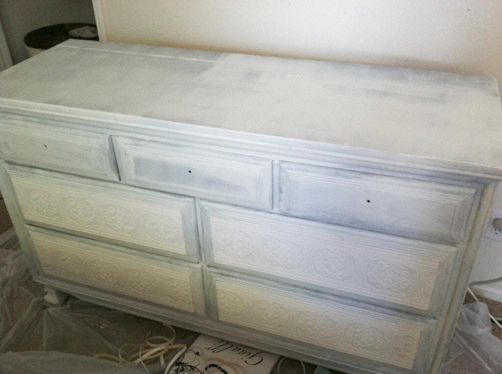 Paintable Wallpaper Dresser Makeover - www.refashionablylate.com