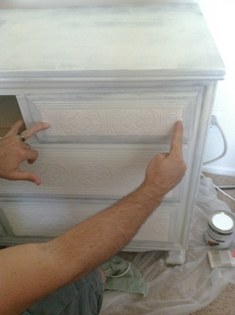 Paintable Wallpaper Dresser Makeover - www.refashionablylate.com