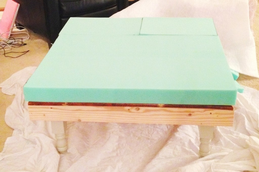 DIY Ottoman made from a coffee table - www.refashionablylate.com