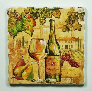coaster with vinyard drawing and a wine glass and bottle