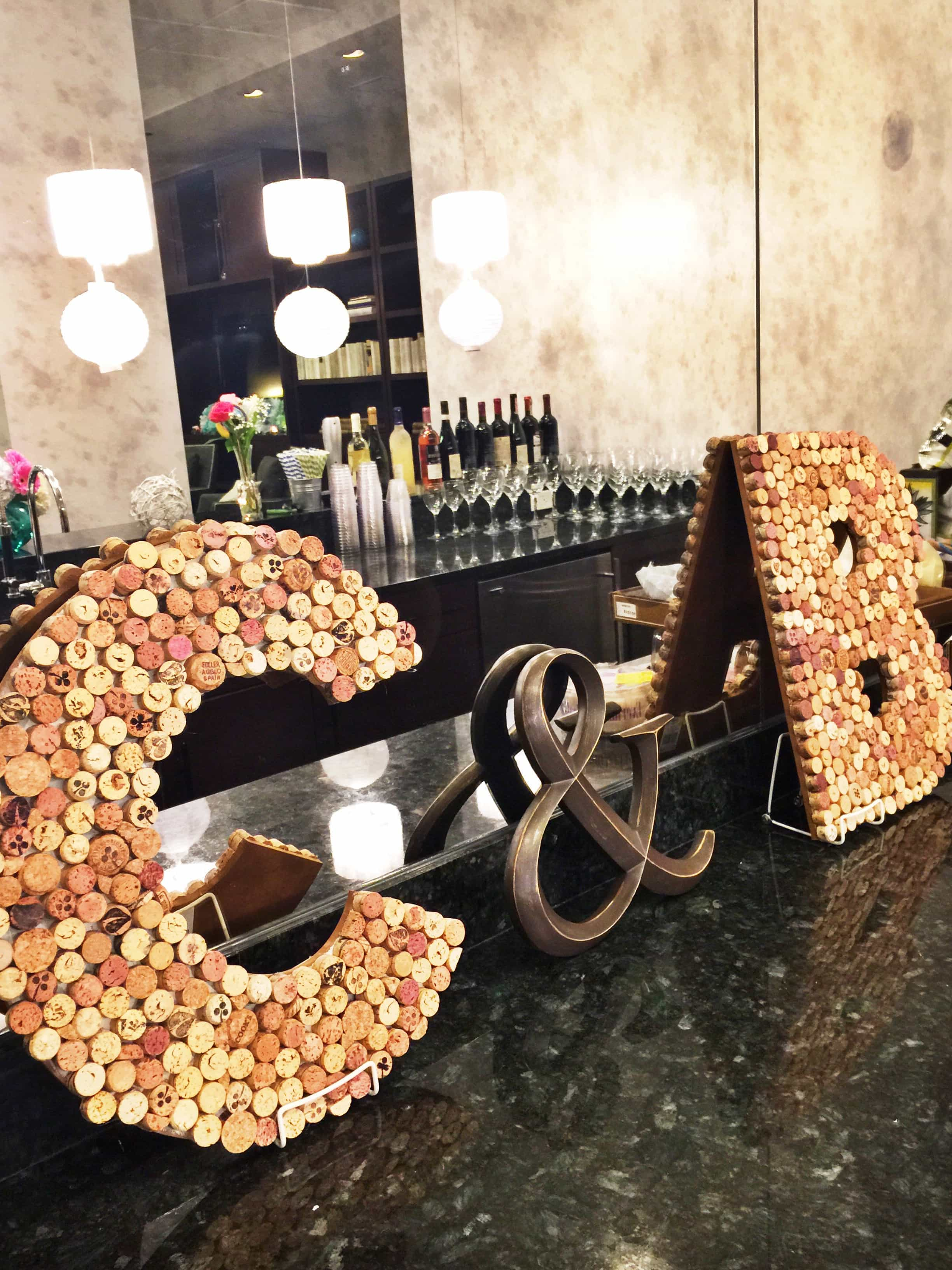 C & B written with multiple corks