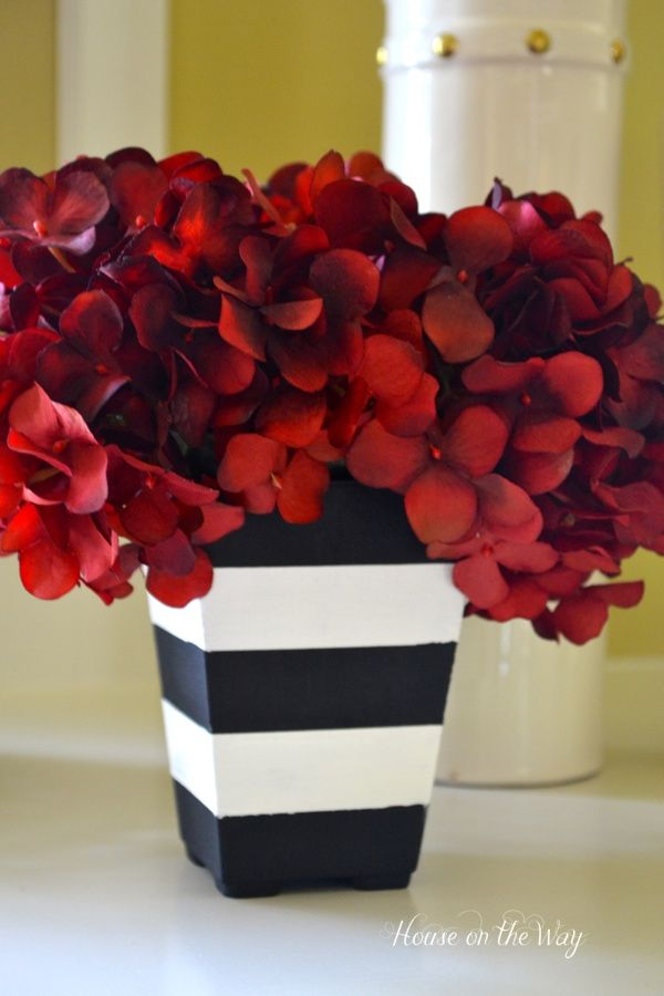 Black white red floral arrangement