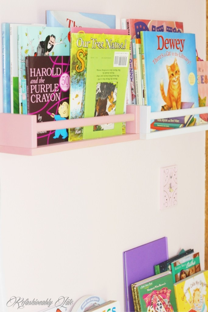 IKEA Spice Racks turned Book Shelves - www.refashionablylate.com & Little Girl's Nursery - www.refashionablylate.com
