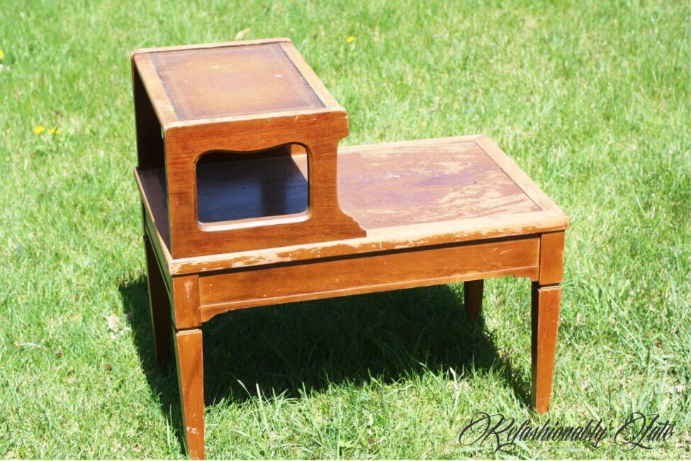 Antique Side Table Makeover - www.refashionablylate.com