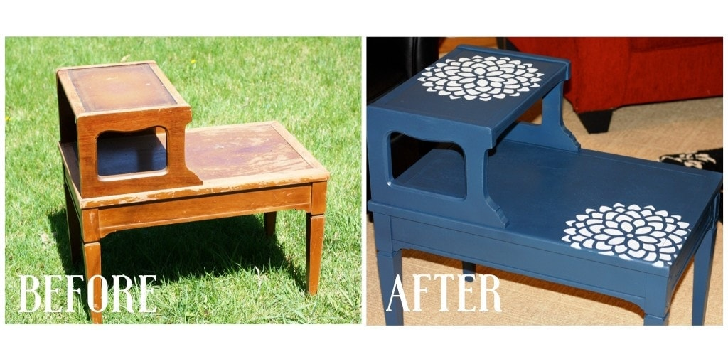 Antique Side Table Makeover - www.refashionablylate.com