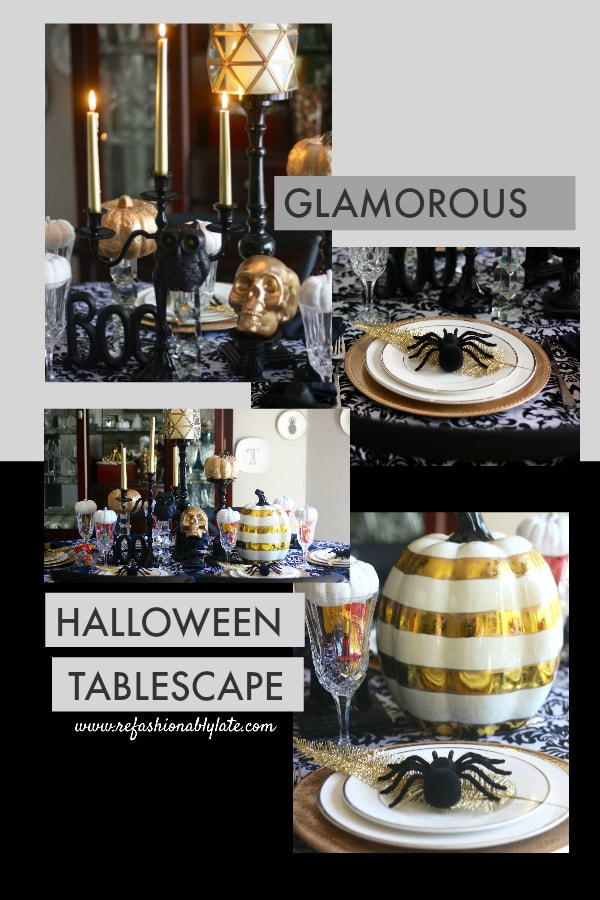 Pinterest Pin with multiple pictures of a Halloween tablescape and titled Glamorous Halloween Tablescape