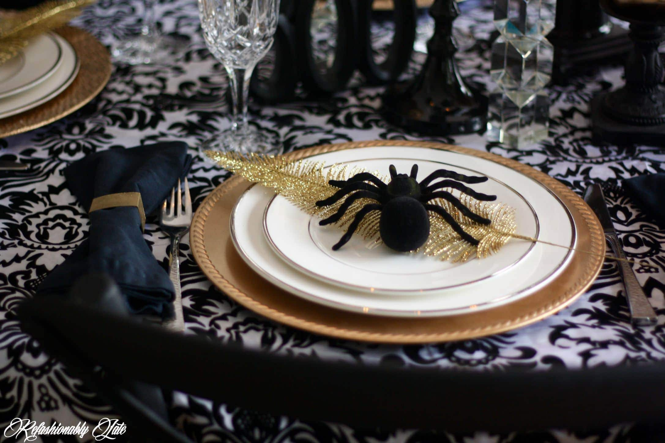 Halloween Dinner Table Setting.A Scary Yet Stylish Halloween Dinner Party Refashionably Late
