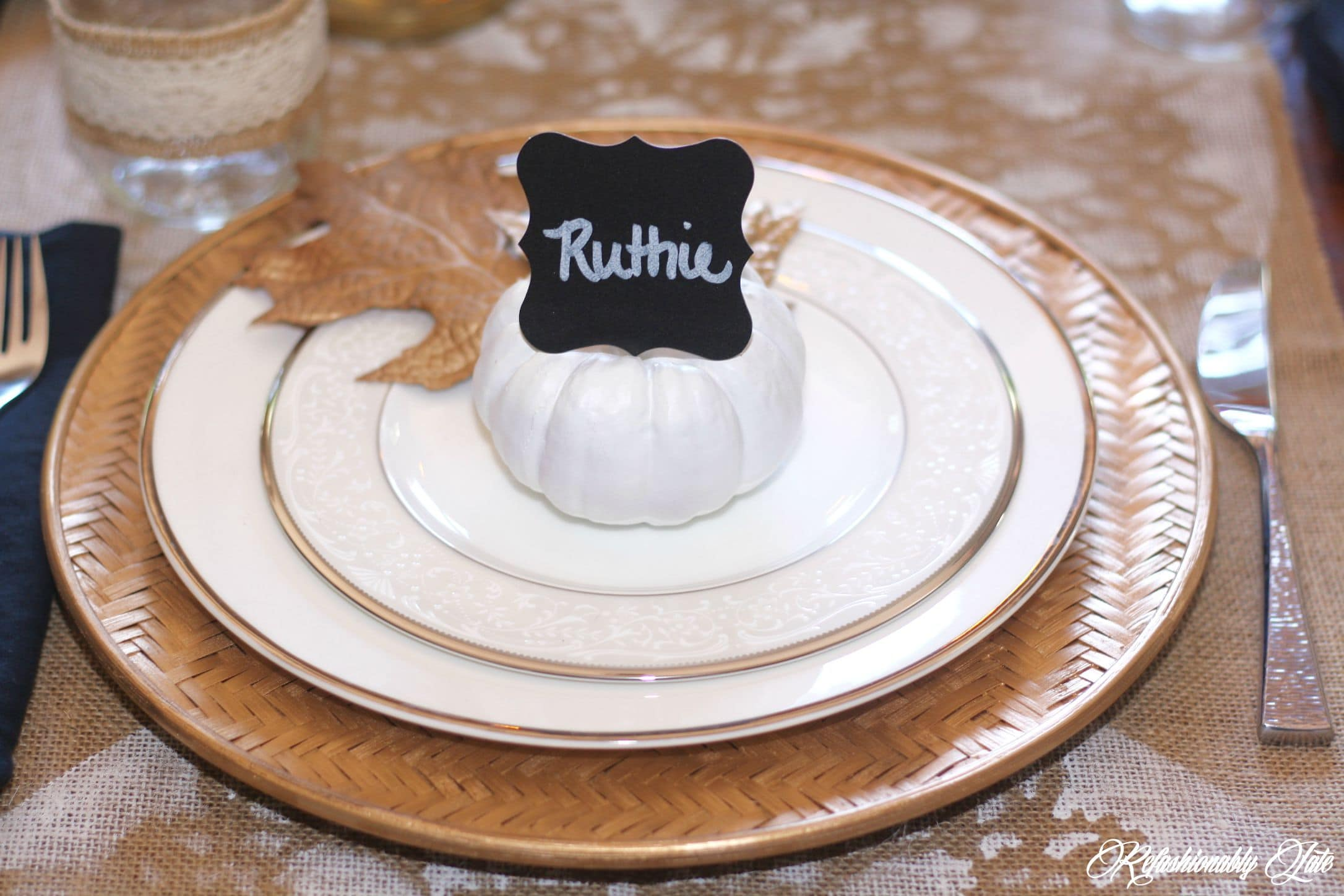 DIY Fall Place Cards & Pecan Pie Spice Cake - www.refashionablylate.com