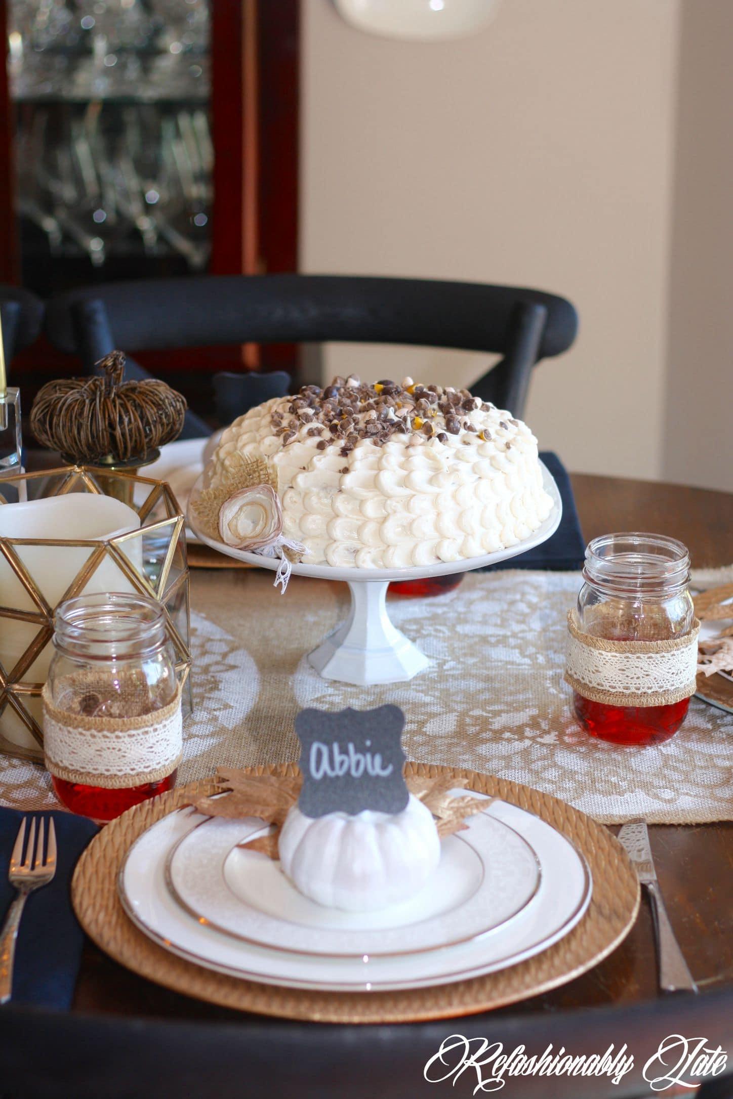 DIY Fall Place Cards & Pecan Pie Spice Cake - www.refashionablylate.com