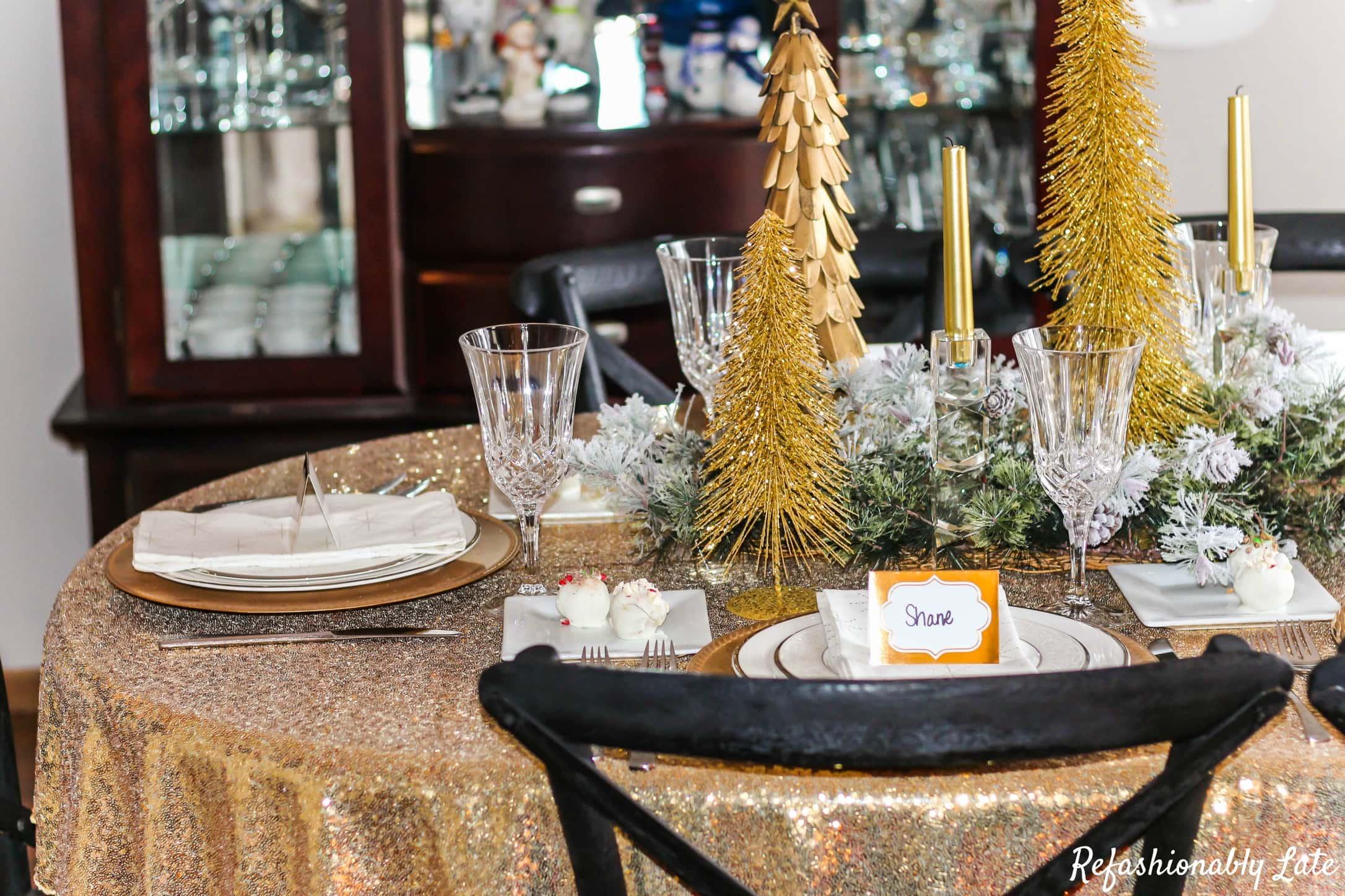 Glamorous Holiday Tablescape and Christmas Cake Truffles - www.refashionablylate.com