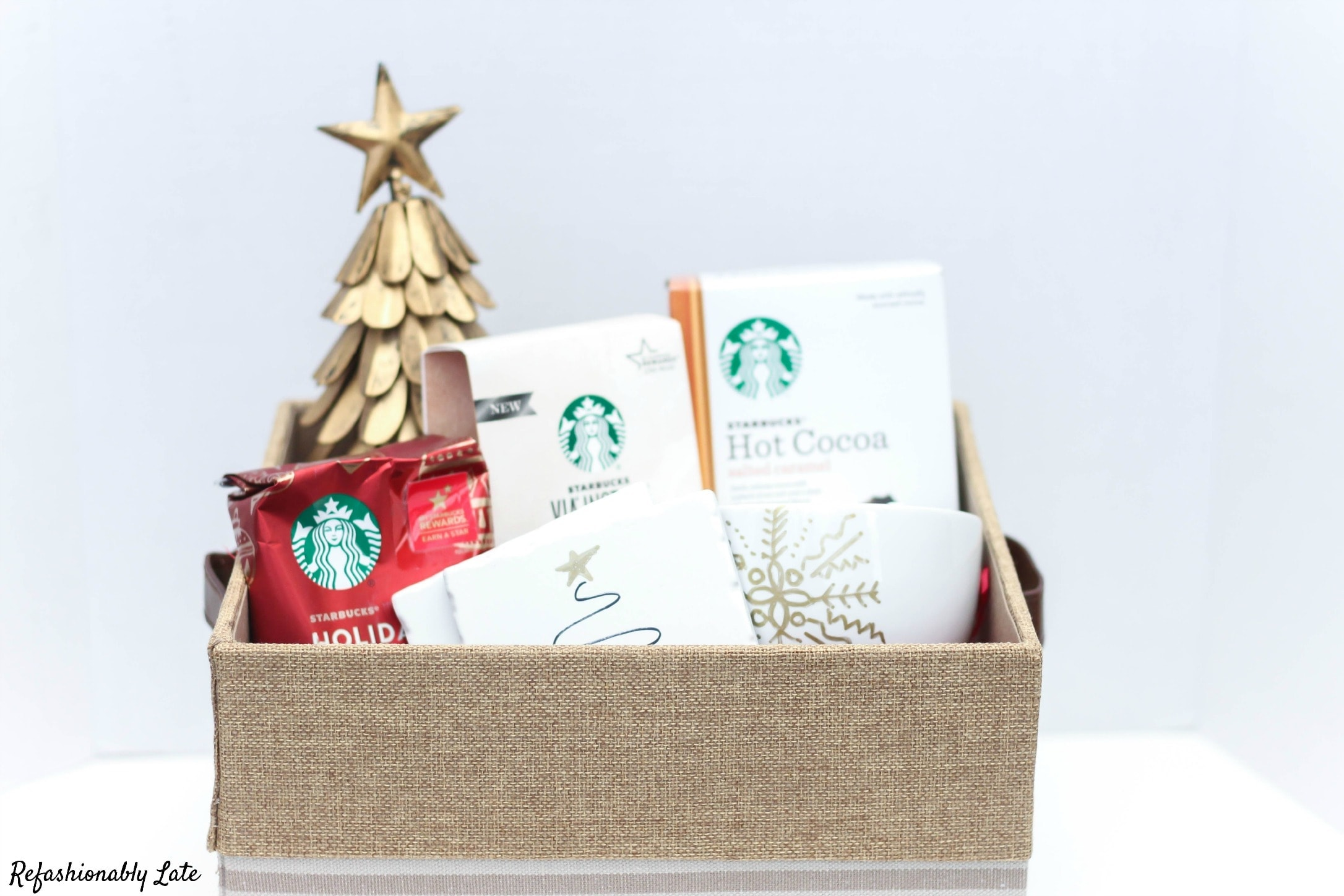 Warming Up During the Holidays - Starbucks Gift Basket - www.refashionablylate.com