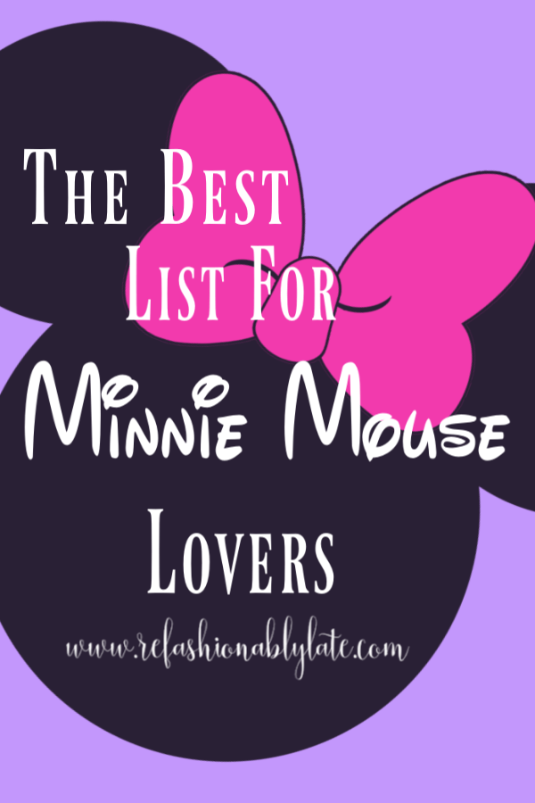 purple background with large black and pink minnie mouse and text the best list for minnie lovers