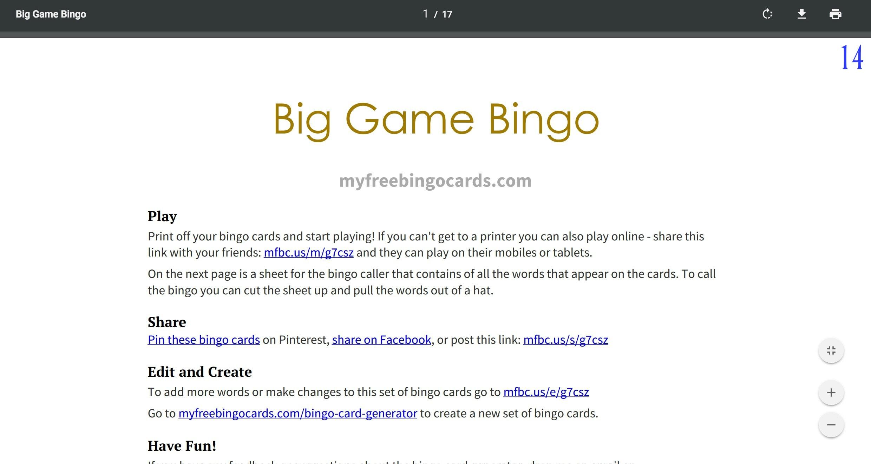 Big Game Bingo - www.refashionablylate.com