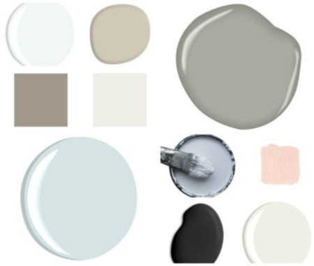 various paint colors with a white background