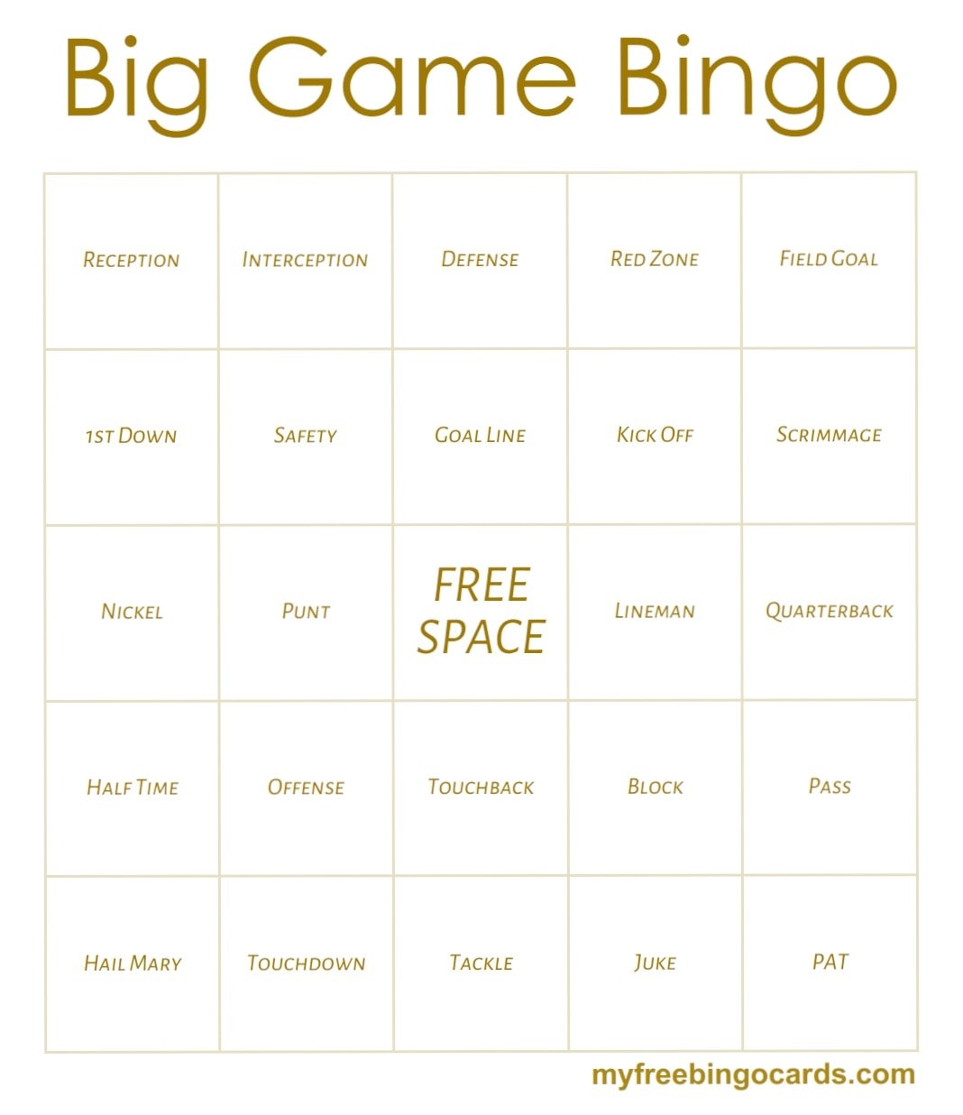 Big Game Bingo - www.refashionablylate.com