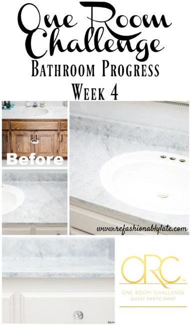 One Room Challenge Week 4 Progress Bathroom - www.refashionablylate.com