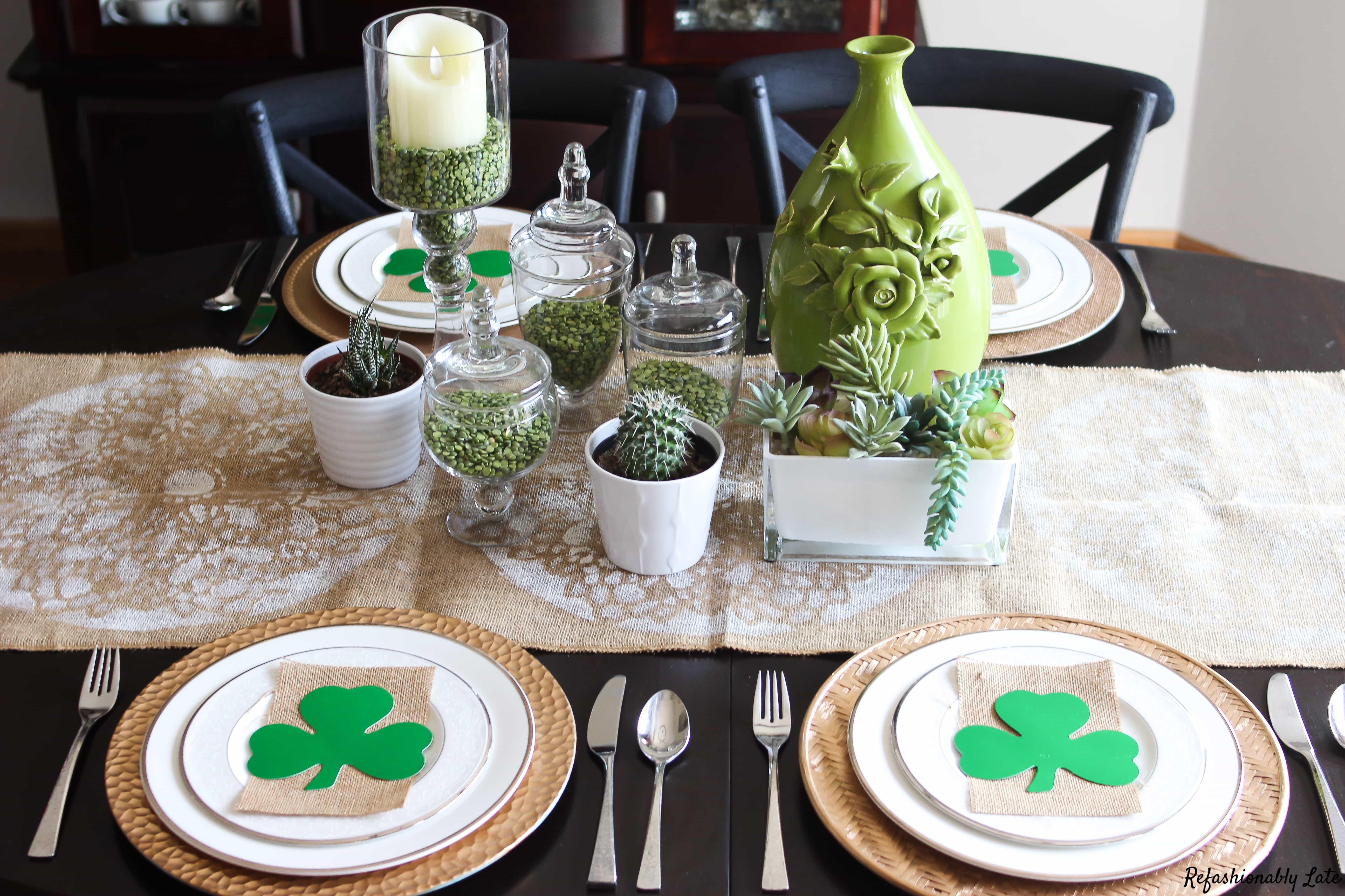 St. Patrick's Day Tablescape - www.refashionablylate.com