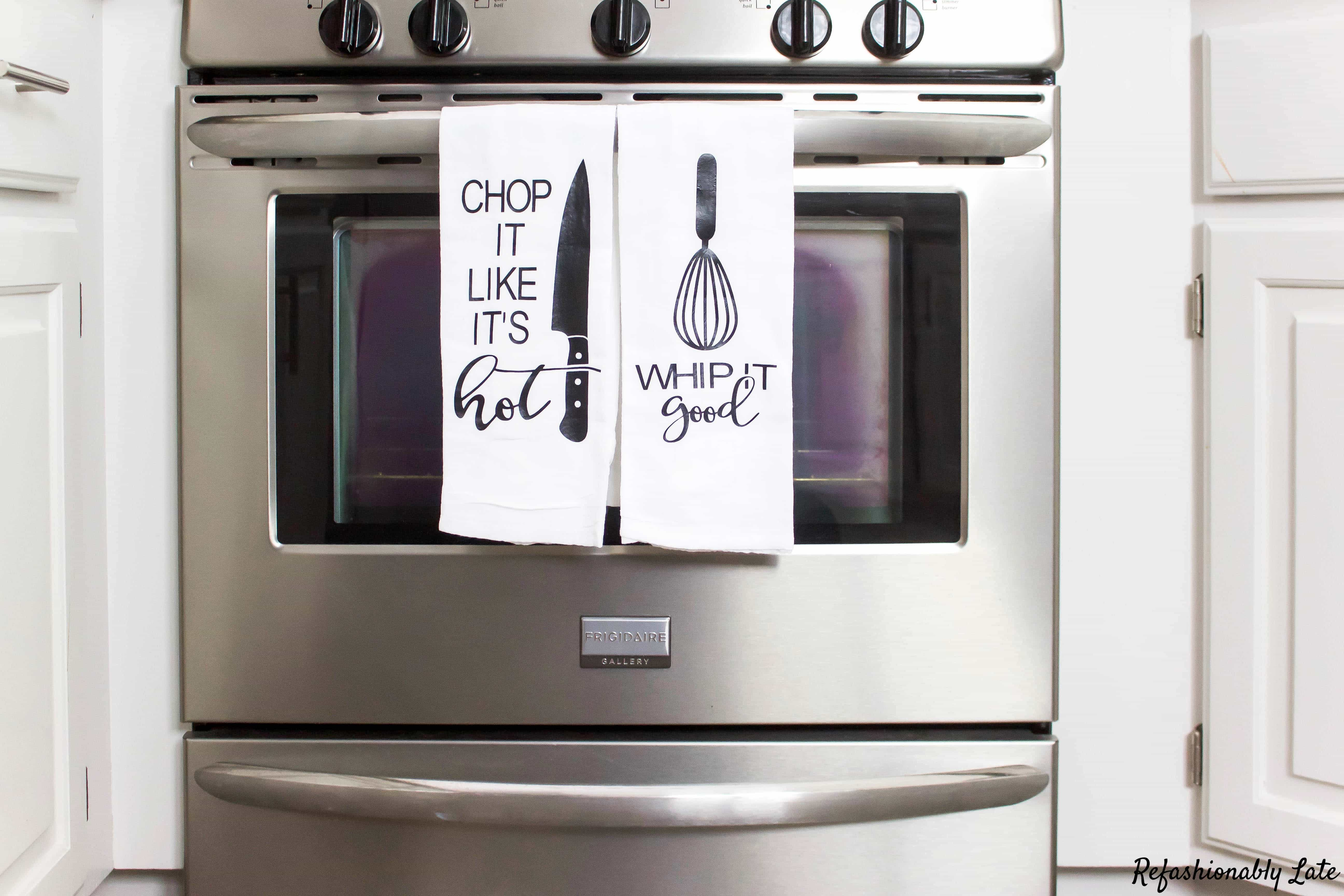 Flour Sack Towels Displayed on a Squeeky Clean Oven - www.refashionablylate.com