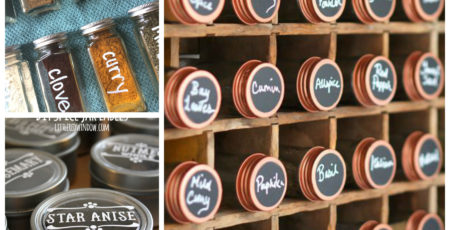 collage of spice organization with text overlay reading 13 ways to organize your spice drawer