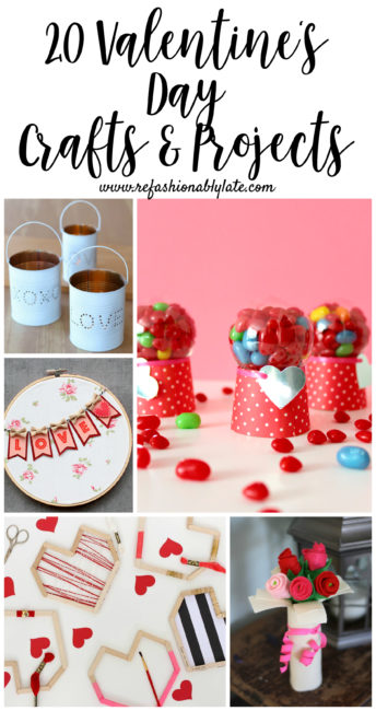 collage of Valentine's Day crafts with text 20 Valentine's Day Crafts and projects