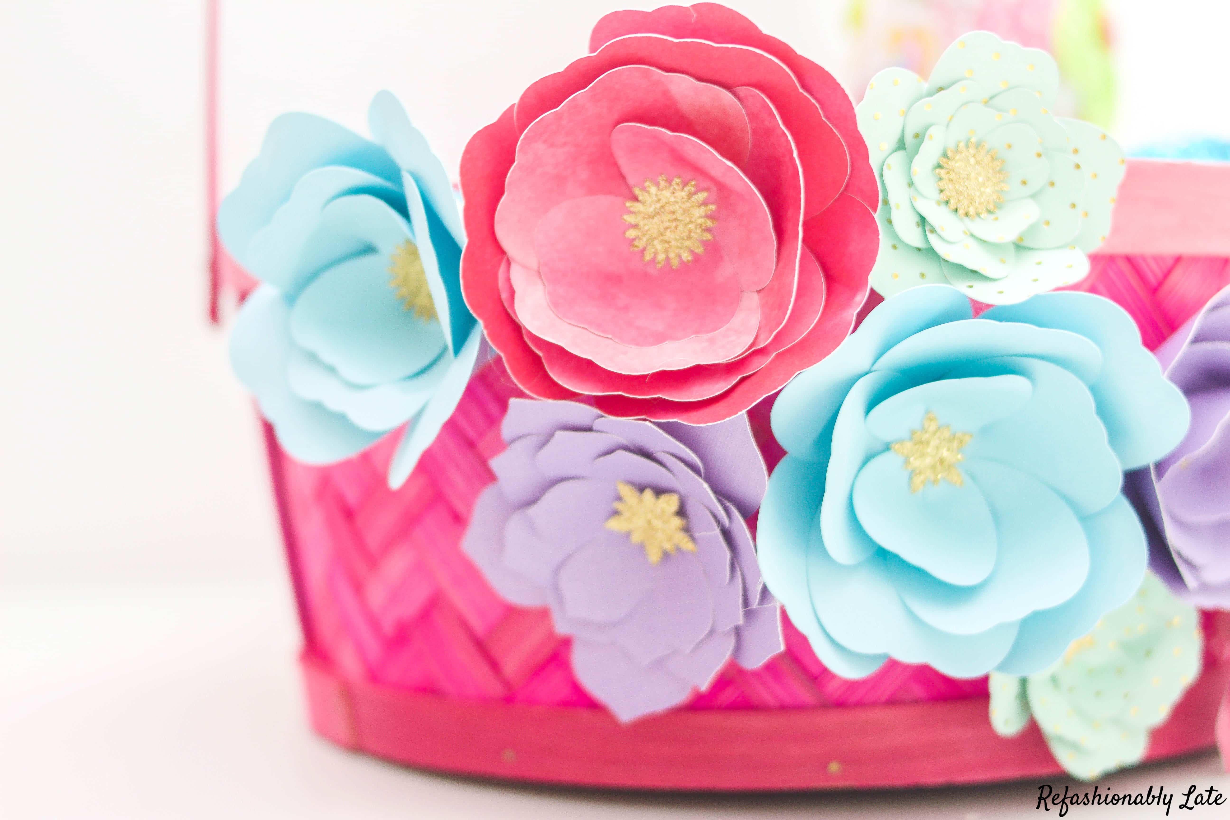 Paper Flower Easter Basket - www.refashionablylate.com