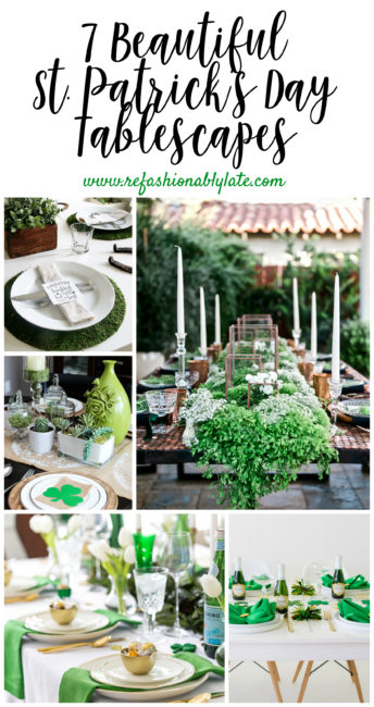 collage of St. Patrick's day tables and text 7 beautiful St. Patrick's Day tablescapes