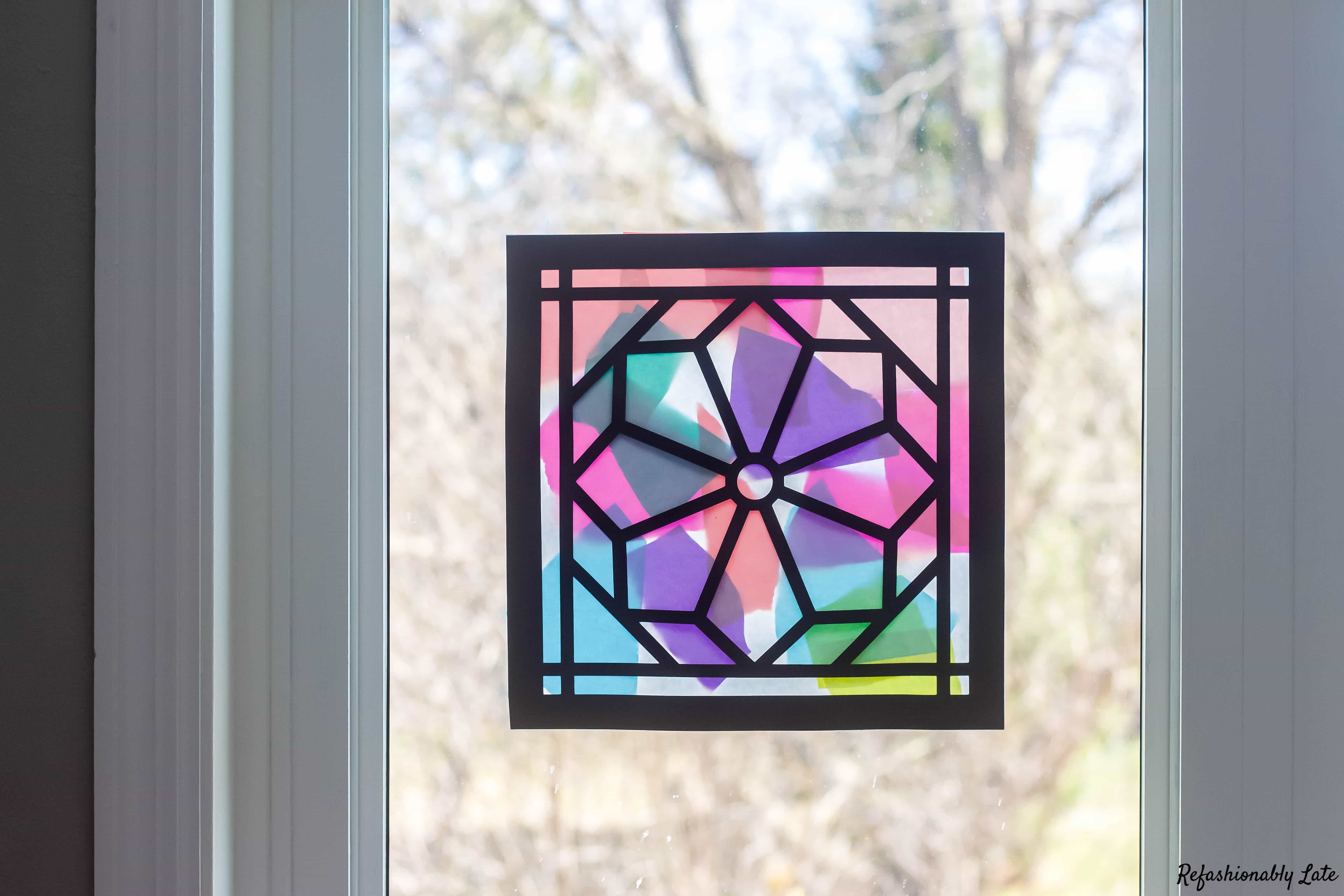 Stained Glass Window Children's Craft • REFASHIONABLY LATE