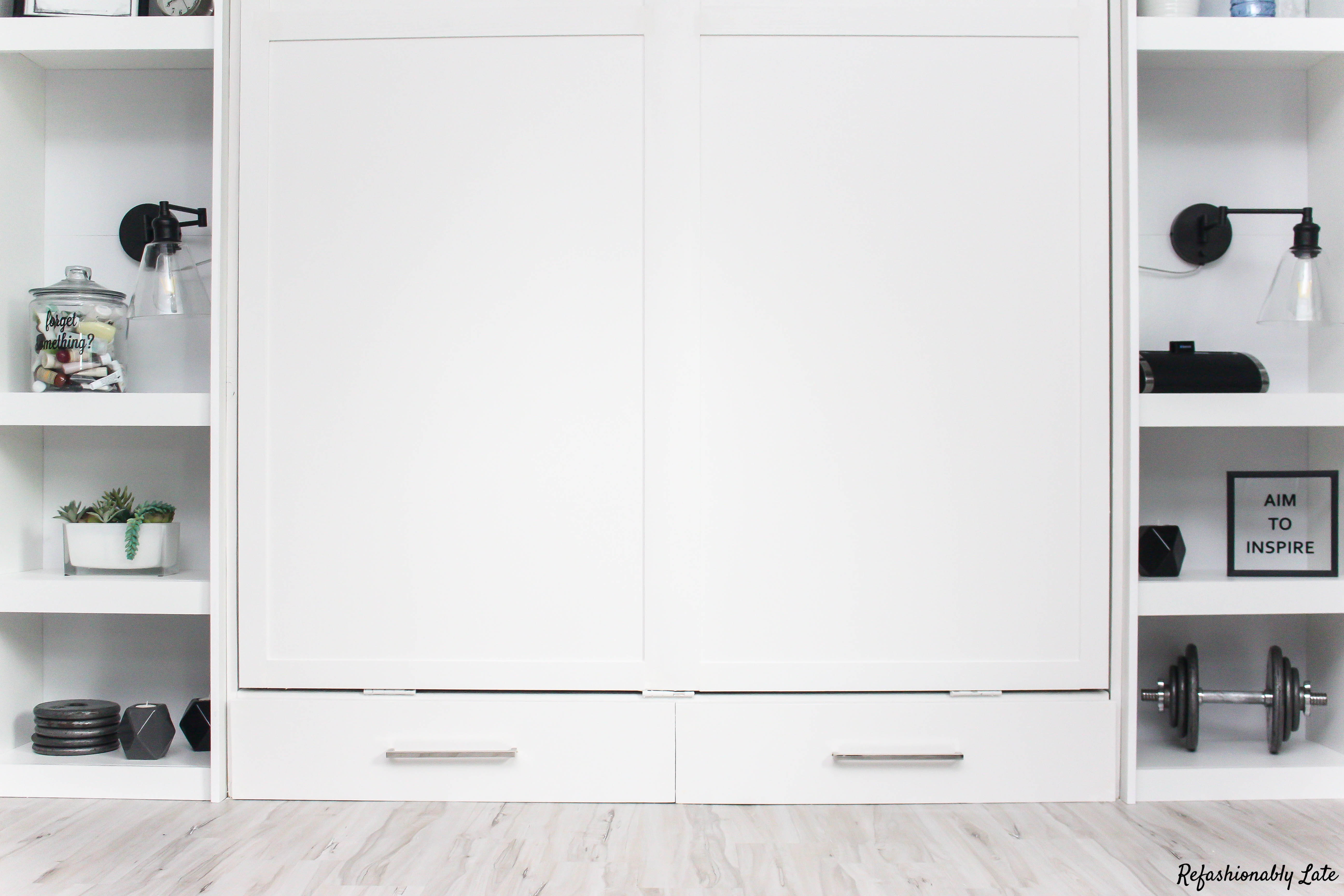 white murphy bed with drawers laying on white maple allure vinyl flooring