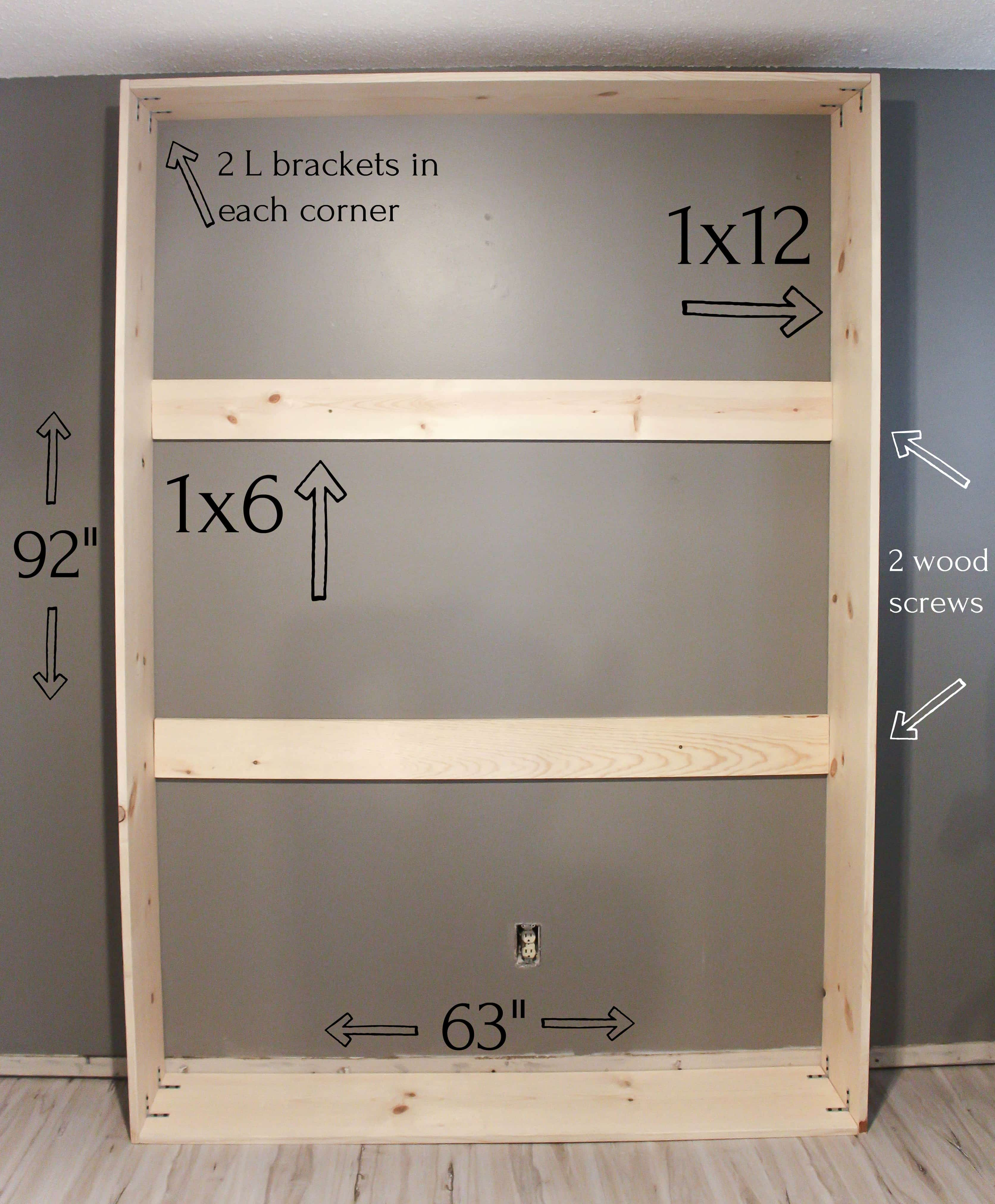 frame of murphy bed attached to the wall with detailed measurements on a grey wall