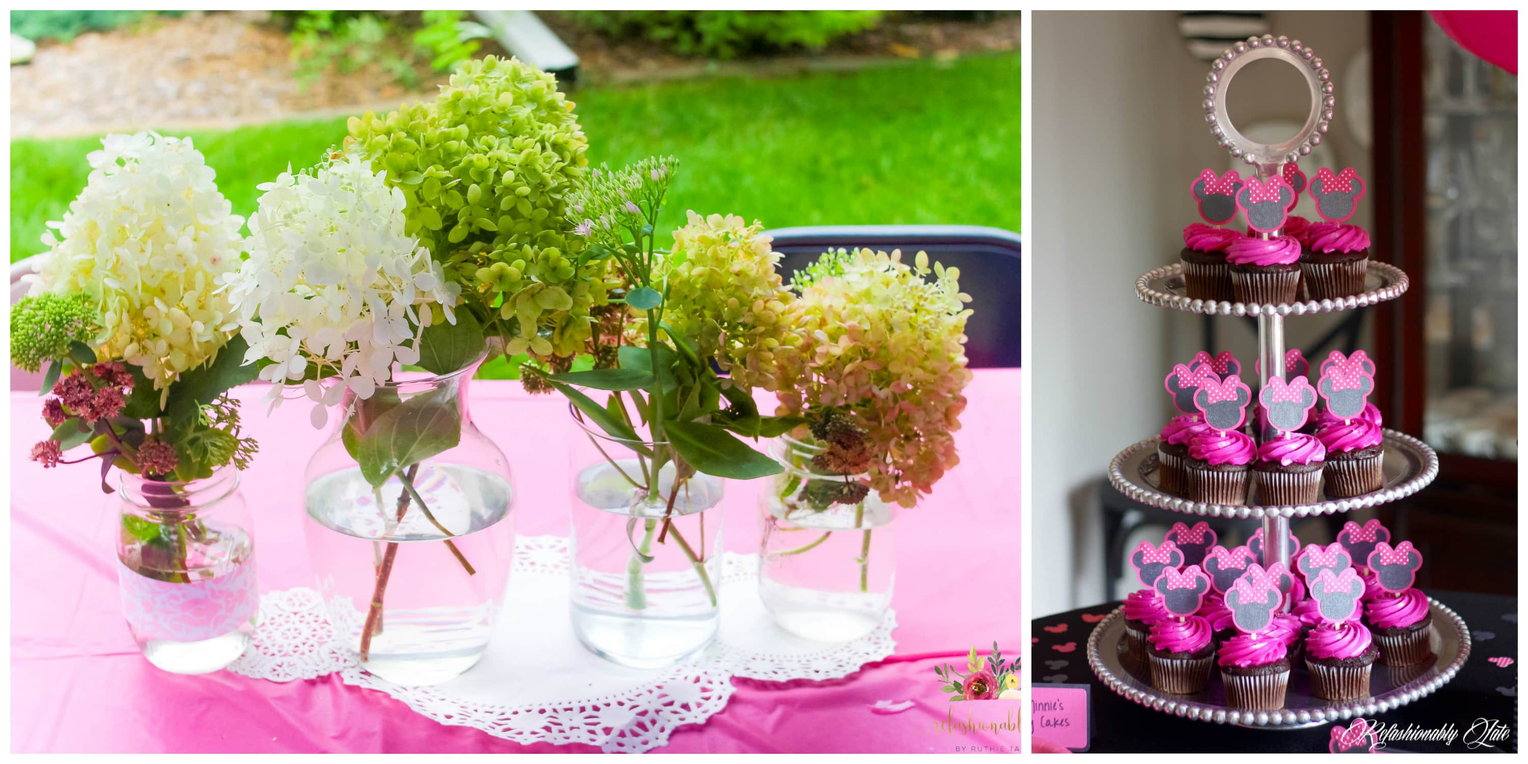 4 vases with hydrangeas in them sitting on a pink tablecloth and minnie mouse cupcakes on a tiered tray
