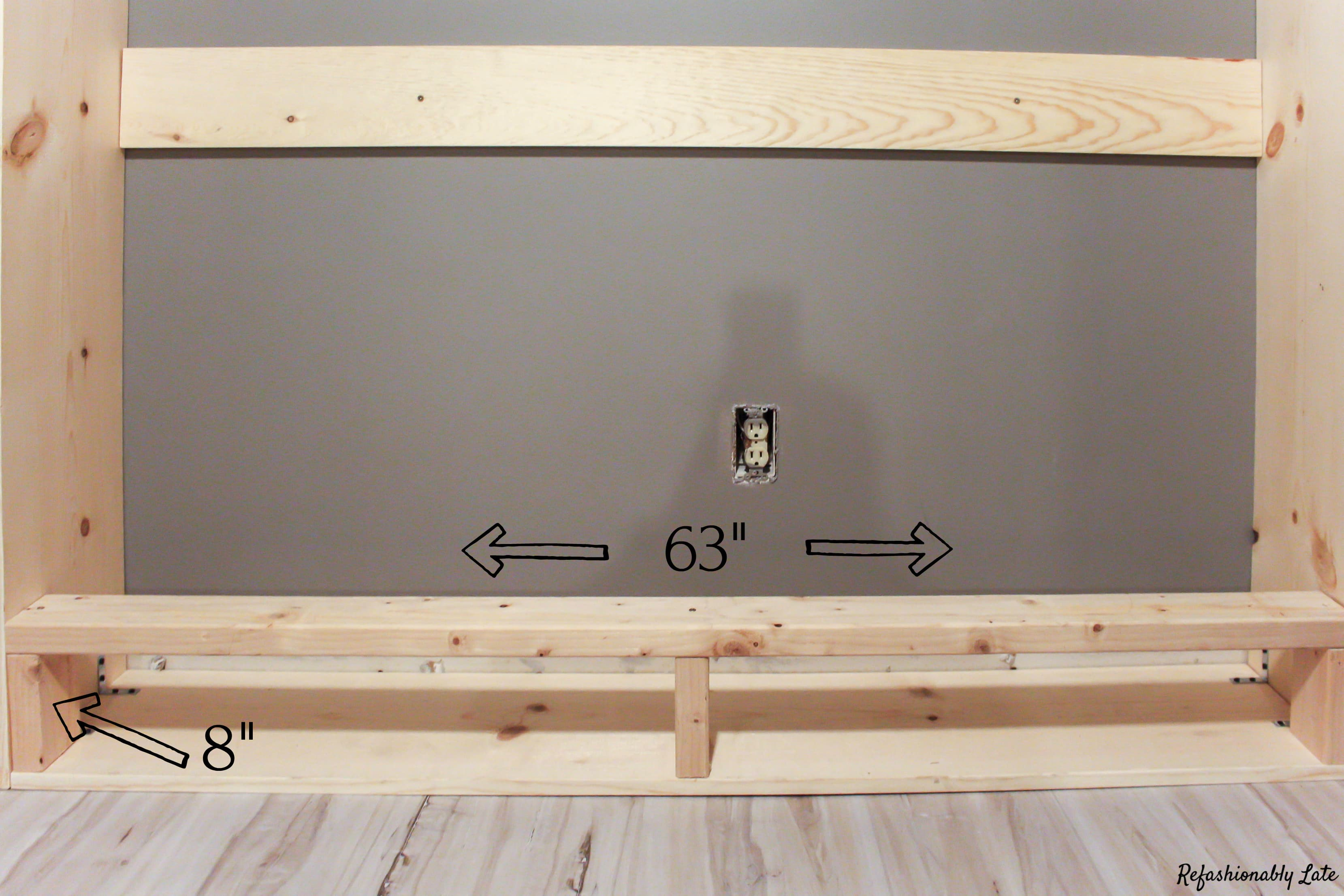 base of murphy bed frame with measurements on white maple vinyl flooring