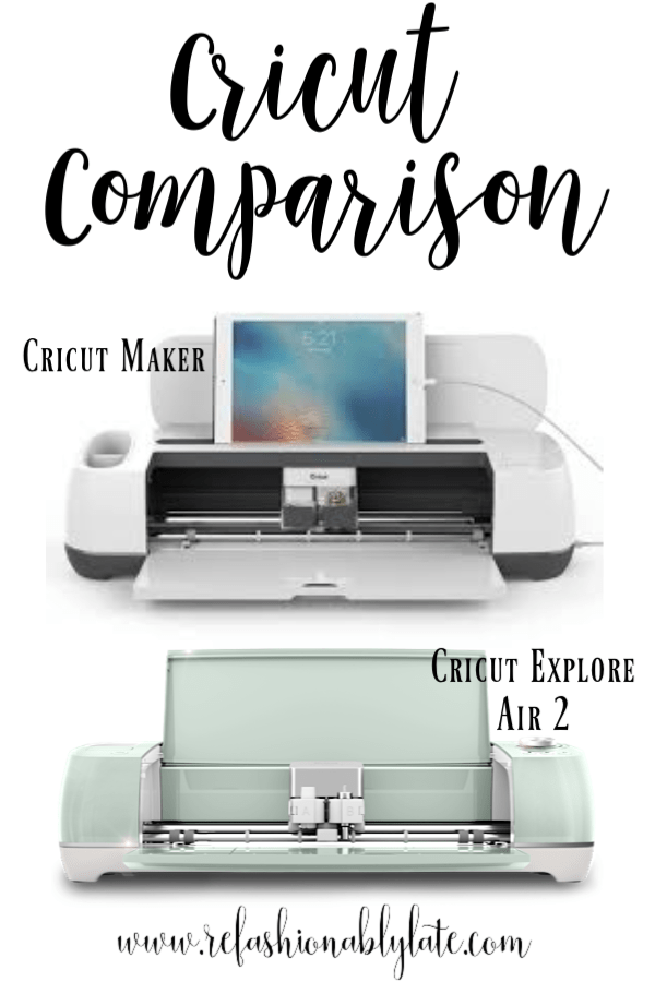 white background with text reading Cricut Comparison Cricut Maker Cricut Explore Air 2 and a picture of each machine