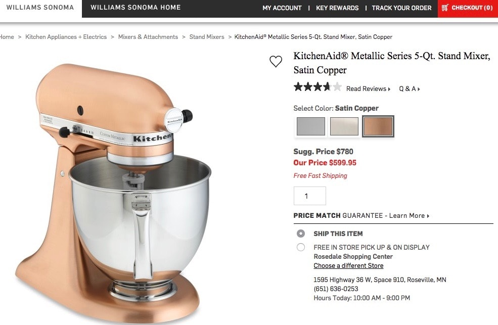 view of a copper KitchenAid mixer on Williams Sonoma's website