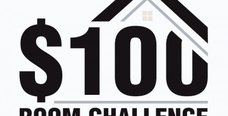 black and white logo with words $100 Room Challenge One Month One Room $100