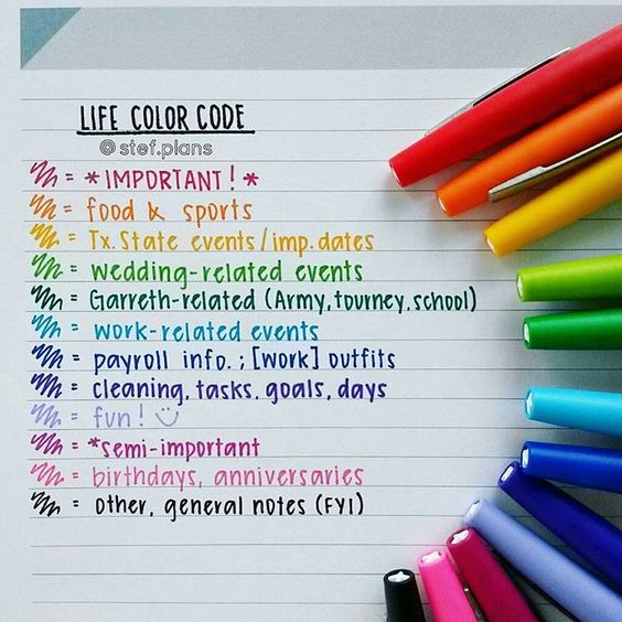 planner with words Life Color Code with different categories by color and markers on the side