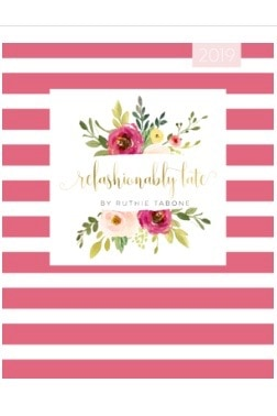 pink and white stripe planner with refashionably late logo in the center