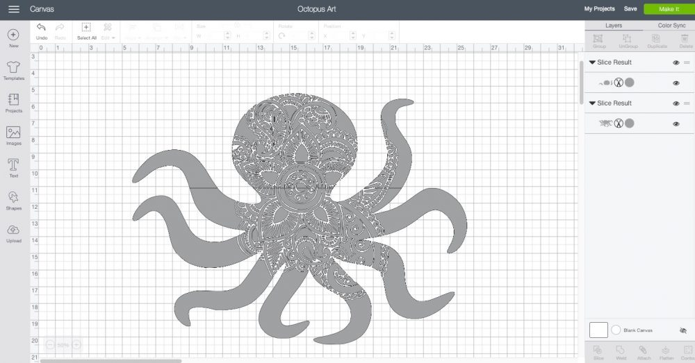 large octopus with a henna design cut out of it in Cricut Design Space
