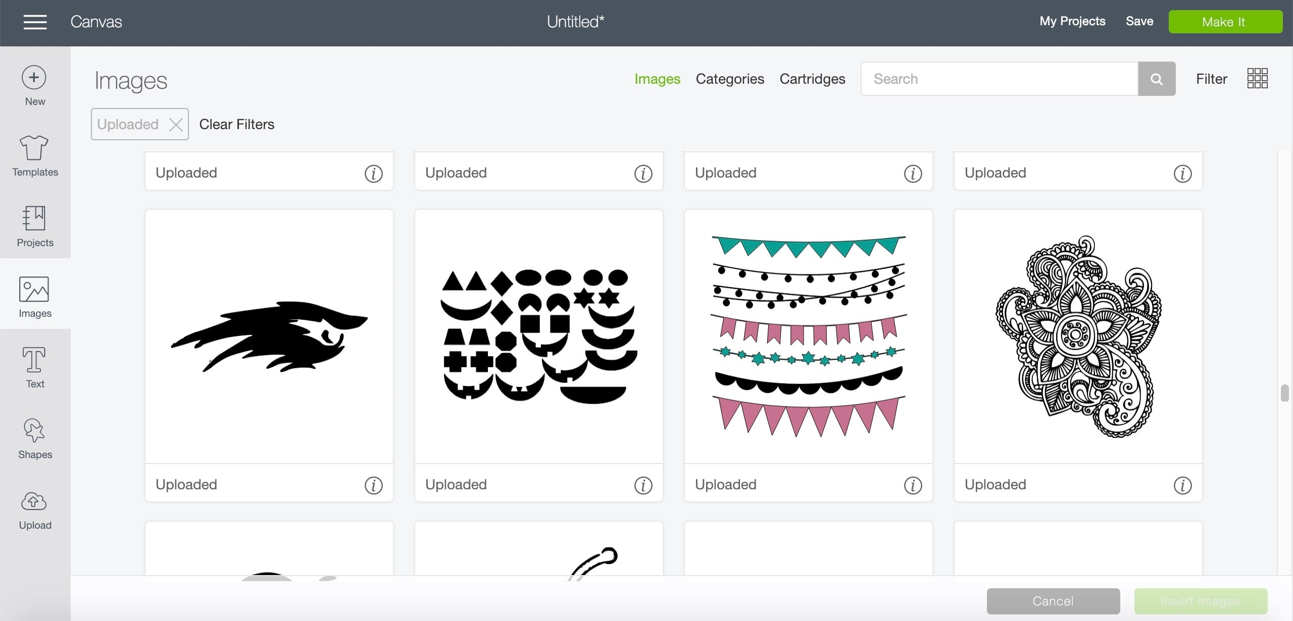 screen shot of Cricut Design Space with various images to choose from