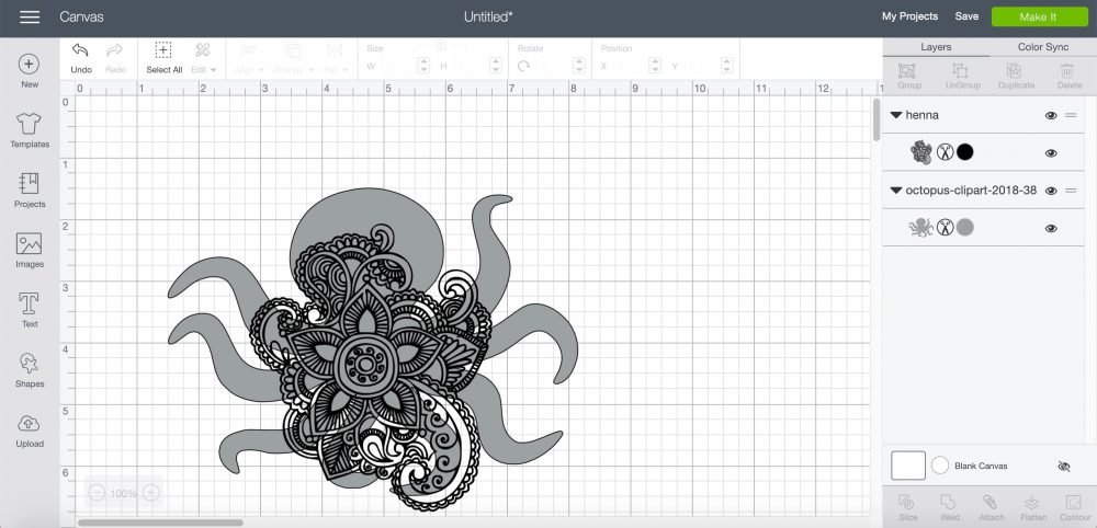 henna image on top of the octopus image in Cricut Design Space
