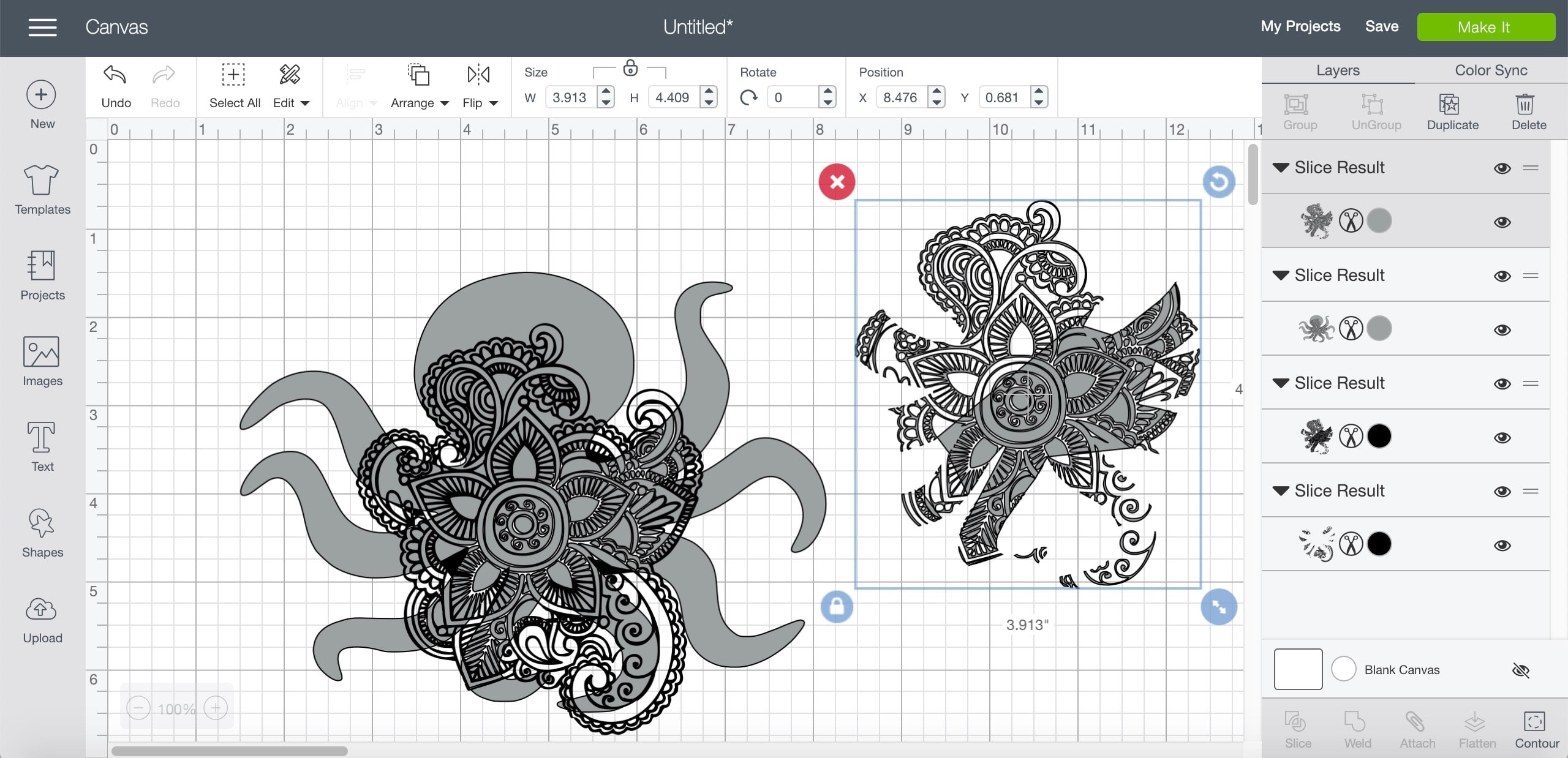 Sliced images of an octopus and henna art in Cricut Design Space