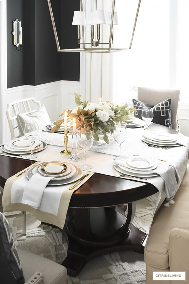 black walls with white board and batten and a neutral valentines day tablescape
