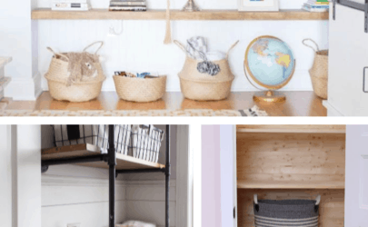 collage of different types of shelves with text 9 DIY shelves to add to your home