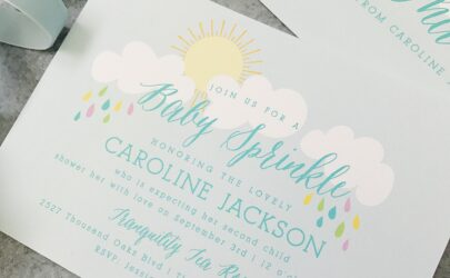 beautiful baby shower invitations with clouds sun and multi-colored rain drops