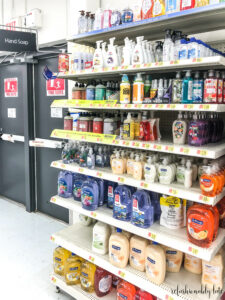 angled view of an aisle at Walmart with various liquid hand soaps
