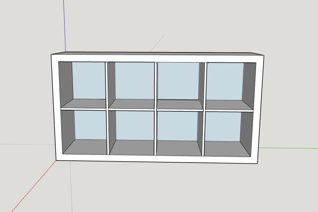 2 dimensional view of building plans of an IKEA Kallax
