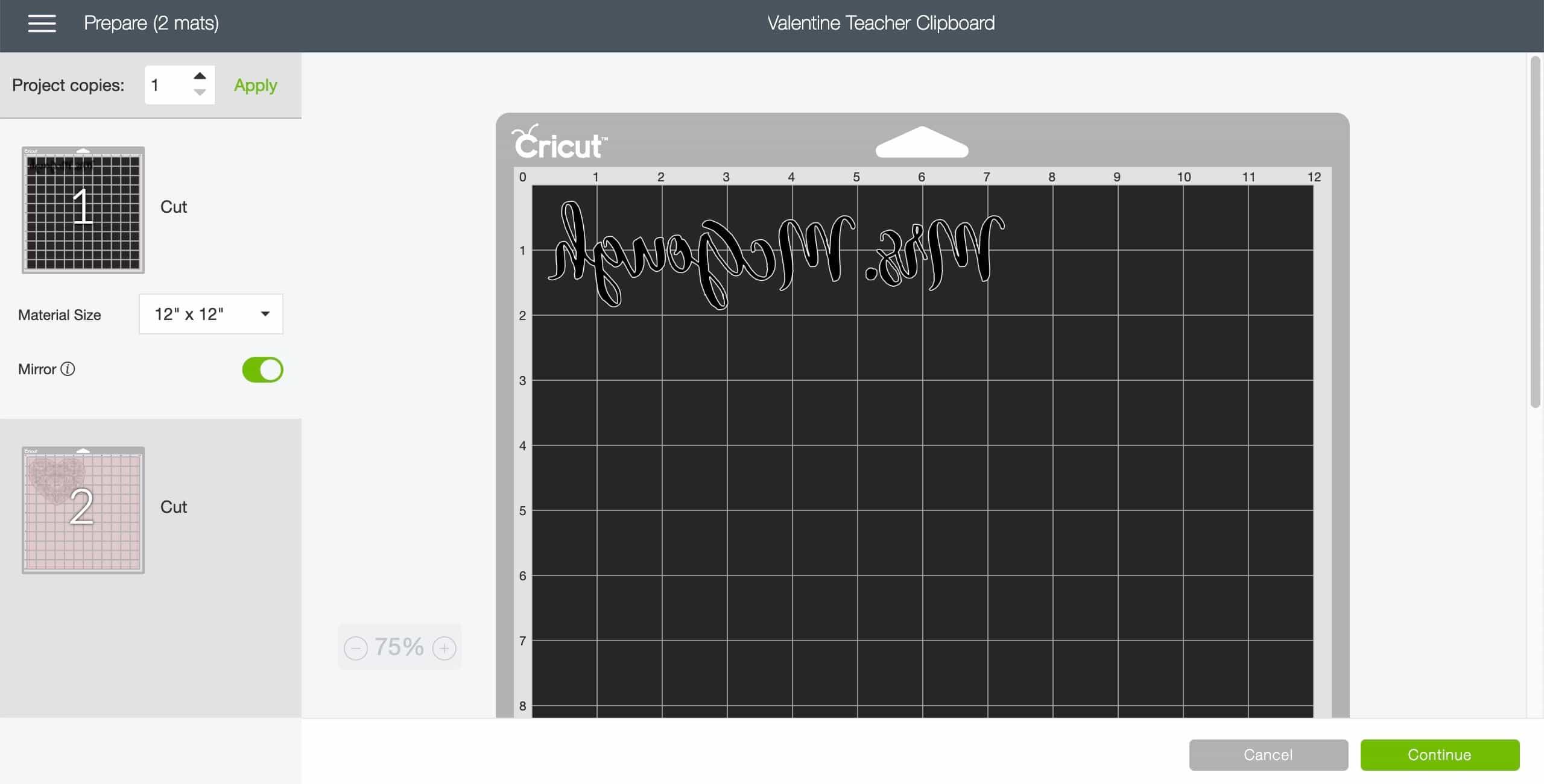 cricut design space in the print screen