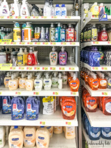 aisle at Walmart with various liquid hand soaps