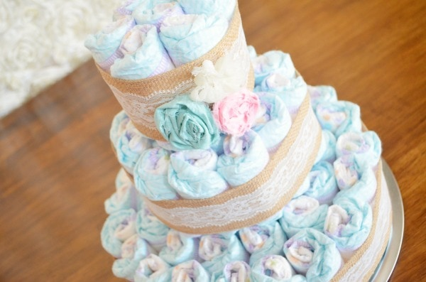 Shabby Chic Baby Shower + Vintage Lace and Burlap Diaper Cake