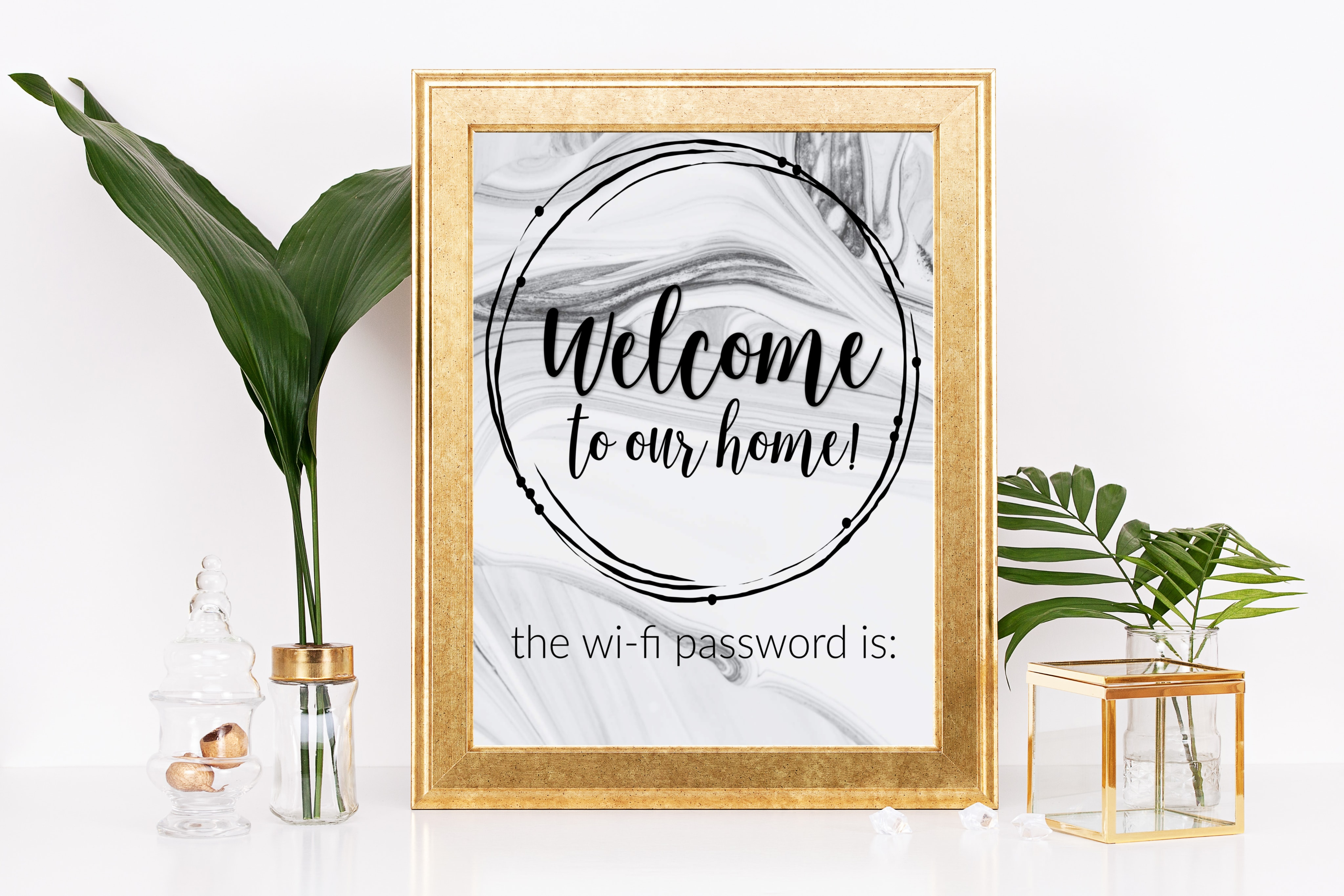 gold frame with welcome to our home the wi-fi password is printable