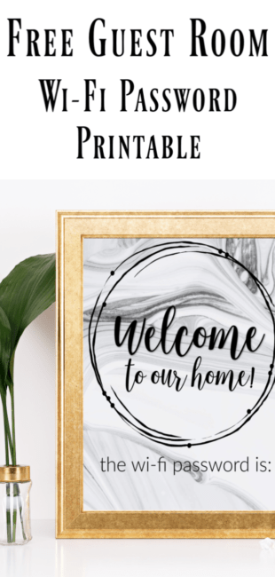 vase with leaves in it and a gold frame with wi-fi password printable with text free guest room wifi password printable